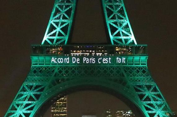 The « Tour Eiffel » was illuminated with « The Paris agreement is done » to celebrate the first day of the application of the Paris climate accord in November 2016